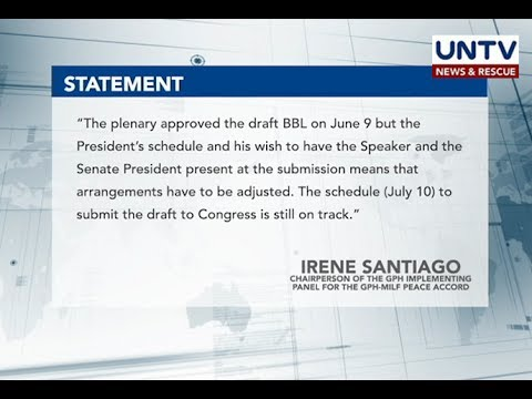 Bangsamoro Transition Commission says schedule of submission of final BBL draft still on track