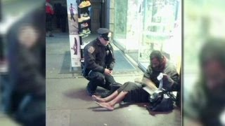NYC cop gives boots to barefoot man