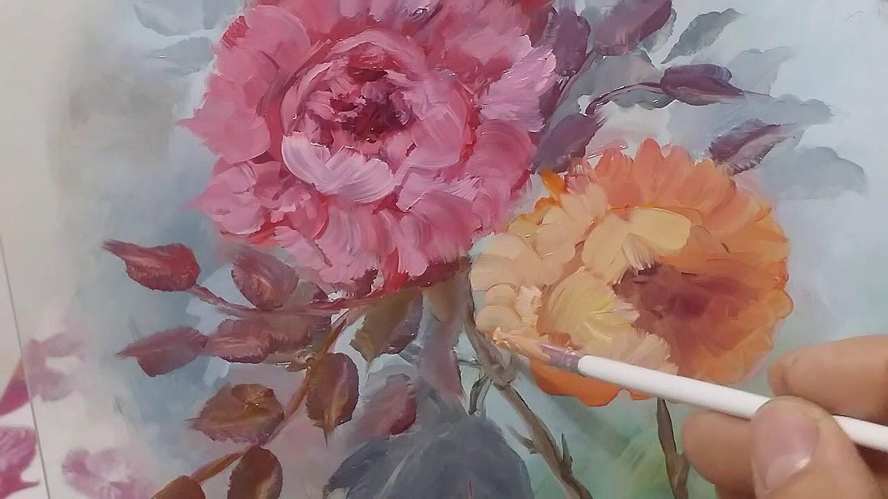 Dipingere ad olio fiori sul vetro - YouTube