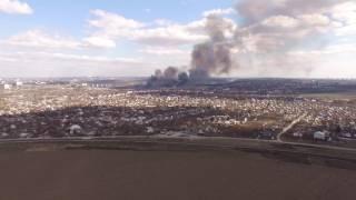 Масштабный пожар на Правом берегу Запорожья c высоты - 25.03.2017