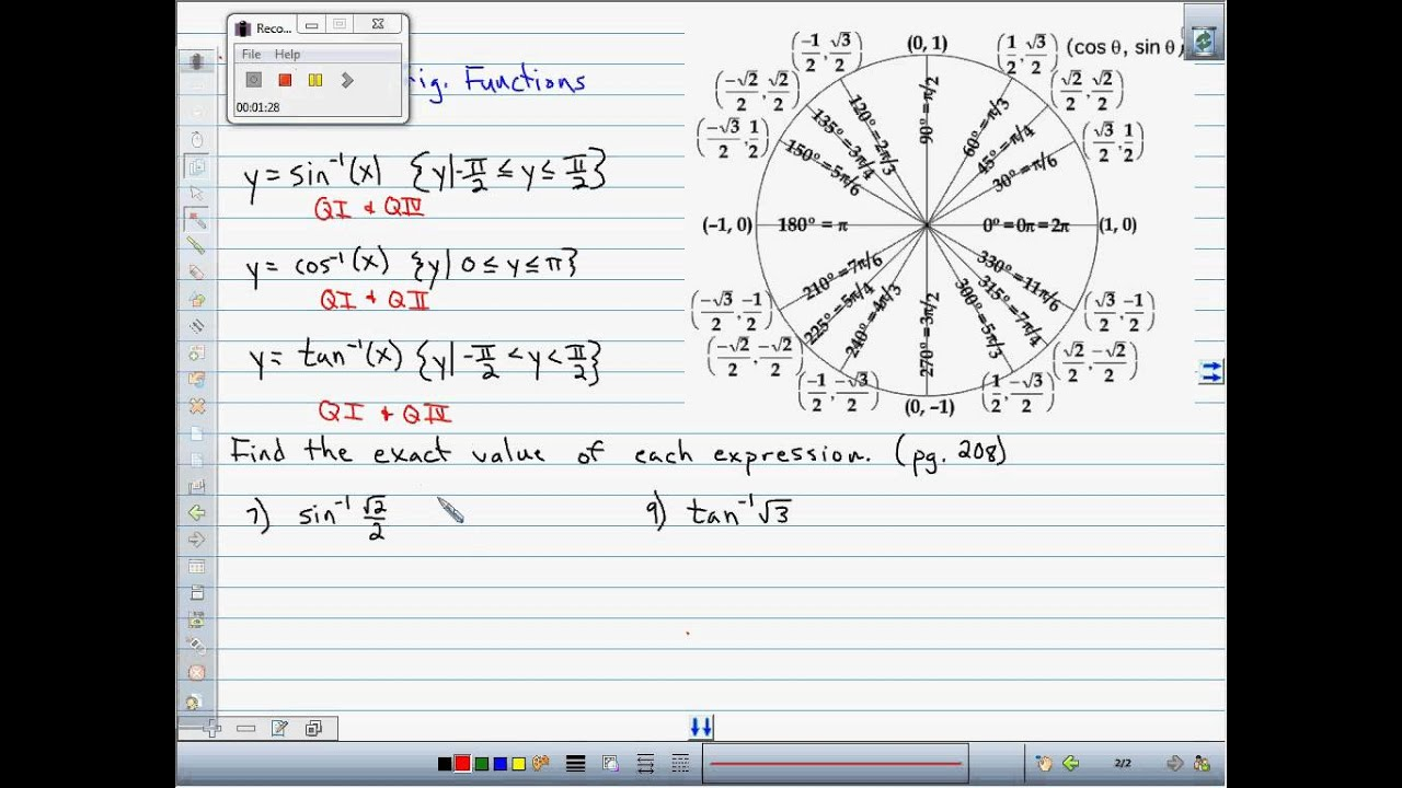 Exact value of inverse trig functions - 3A - Day 1.avi - YouTube