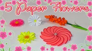 🌷🌸 DIY: 5 Paper Flowers  Mother's Day 🌸🌷