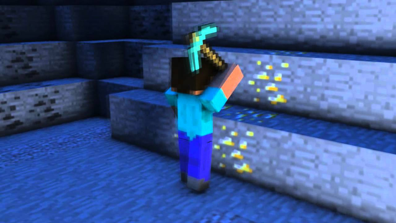 minecraft steve mining gold youtube