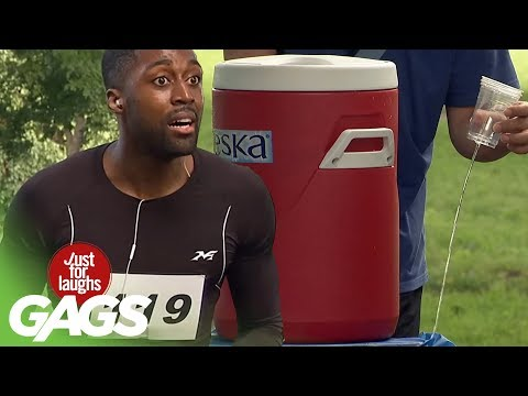 Giving Out Water to Runners Fail! - Just For Laughs Gags