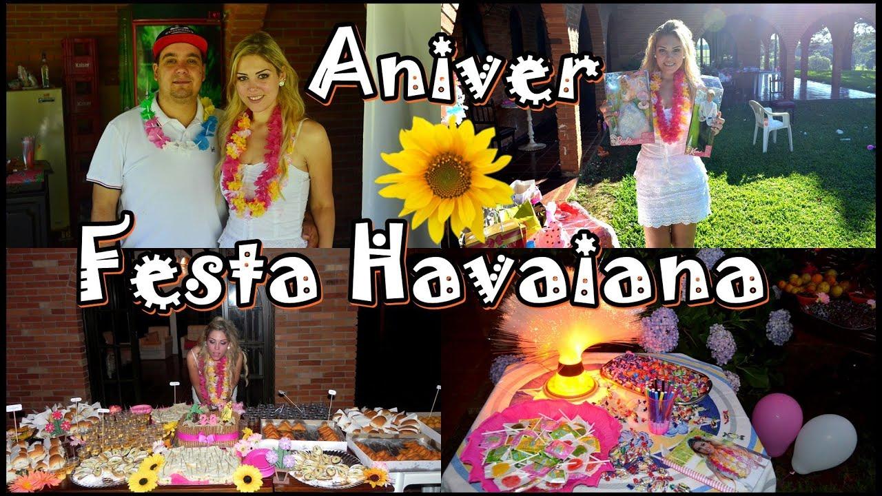 FESTA HAVAIANA SABRINA SGARBI 23 ANOS YouTube -> Decoração De Festa Havaiana Simples