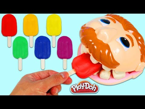 Thumbnail: LEARN COLORS Feeding Mr. Play Doh Dentist Drill N Fill Rainbow Popsicles & Color Changing Teeth!