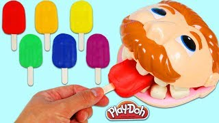 LEARN COLORS Feeding Mr. Play Doh Dentist Drill N Fill Rainbow Popsicles & Color Changing Teeth!