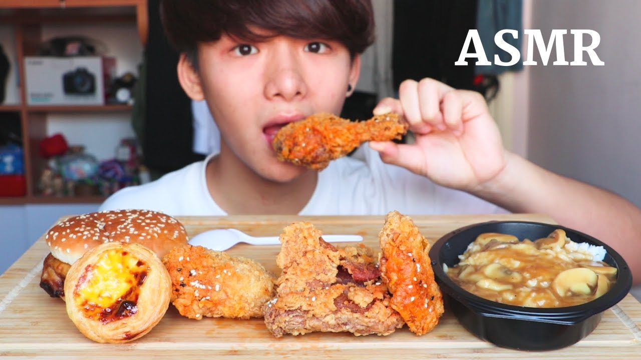 Asmr Eating Sounds Kfc Black Garlic Fried Chicken Crispy Eating Sound Mar Asmr