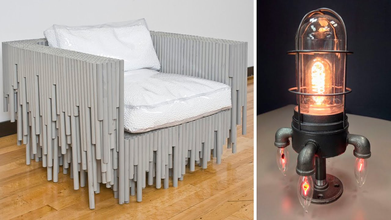 90 beautiful ideas from pipes and bottles! PVC and steel pipe furniture, glass bottle crafts!
