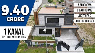 9.40 Crore Triple Unit Modern House with 7 Bedrooms + 8 Washrooms + 4 Kitchens & Rooftop Terrace