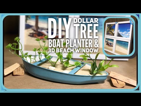 DIY Dollar Tree Boat Planter & 3D Window - Dollar Tree Beach, Nautical, Coastal Summer Room Decor
