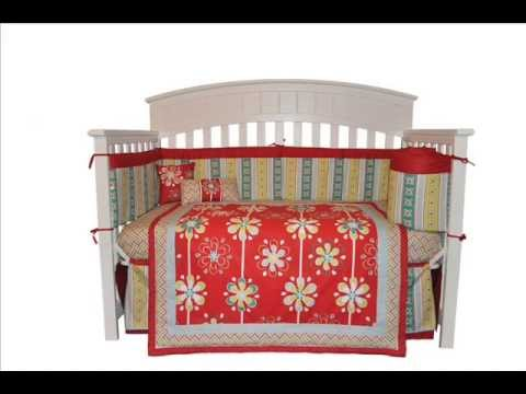 10PC Red Graphic Floral Girl Nursery Crib Bedding Set ; Girl Crib Bedding