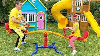 Stacy convida amigos para jogar jogos ao ar livre