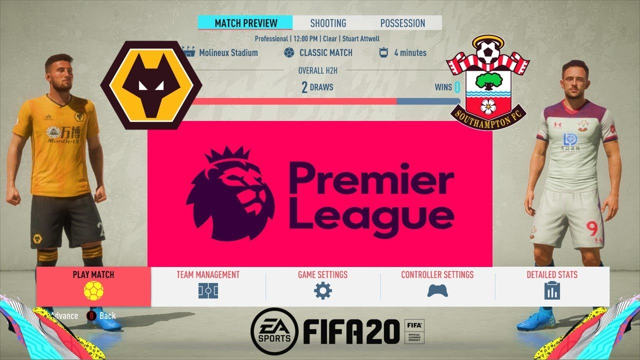 Fifa 20 Premier League 19 20 Wolves Vs Southampton Matchweek 9 Gameplay Pc Youtube