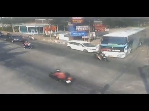 My Motorcycle Accident With Crazy Speeding Bus 26 2 2017 Pattaya Thailand  [Helmet cam + CCTV]