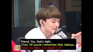 [ENG] His friend called Chen and he almost cried. Sweet moment.