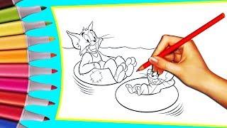 Детские раскраски для малышей из мультфильма Том и Джерри
