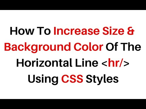 Change Size The Thickness And Colour Of The Hr Element Tag Using Css Styles