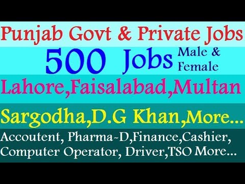 Govt and Private Jobs | Lahore Faisalabad Sargodha DG Khan M