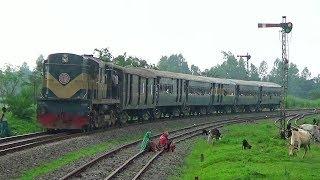 Khulna bound Down Rocket Express passing through Raninagar Rail curve of Bangladesh Railway