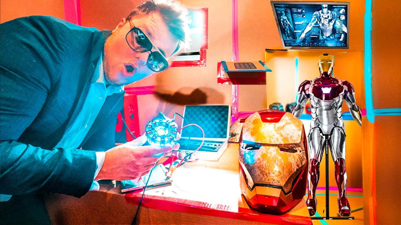 BILLIONAIRE IRON MAN BOX FORT! Real Life Tony Stark Base & Iron Man Suit