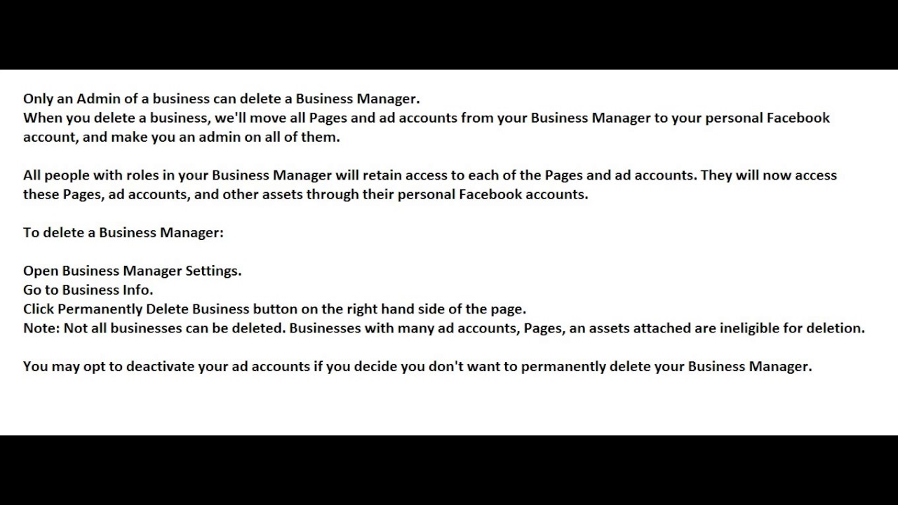 How Do I Delete My Business Manager? Face Book