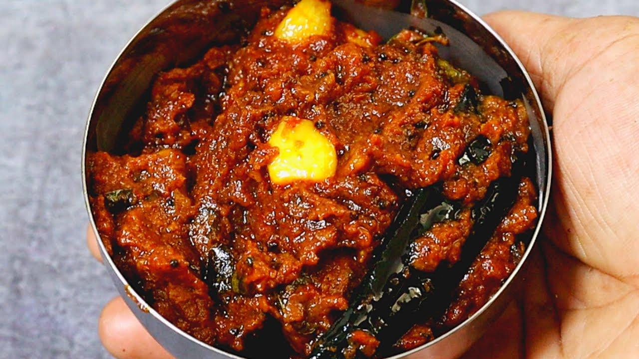 பூண்டு தக்காளி தொக்கு ஒரு மாதம் ஆனாலும் கெட்டுப்போகாது   garlic tomato gravy poondu thakkali thokku