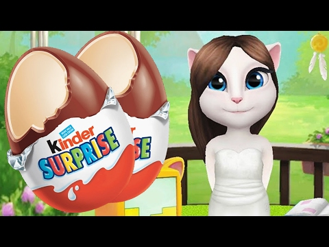 My Talking cat Angela Great Makeover + KINDER SUPRPISE eggs opening gameplay - new episode 2017