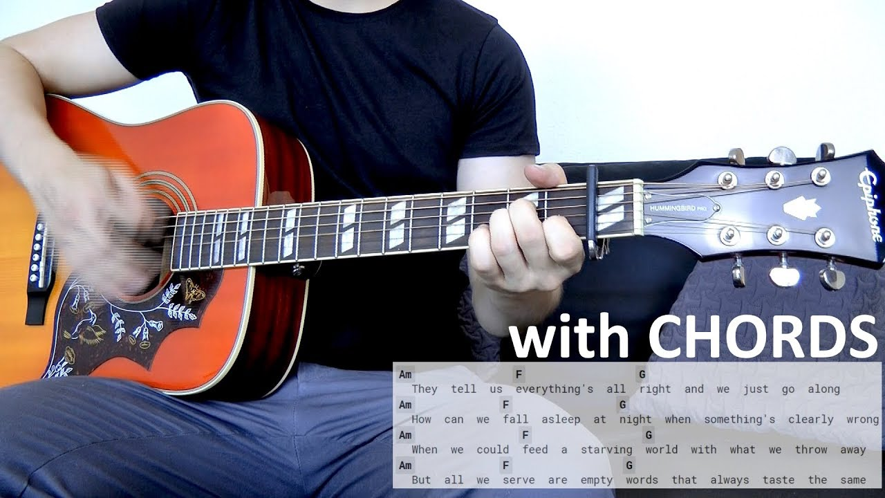 Nickelback When We Stand Together Guitar Cover Wchords On Screen