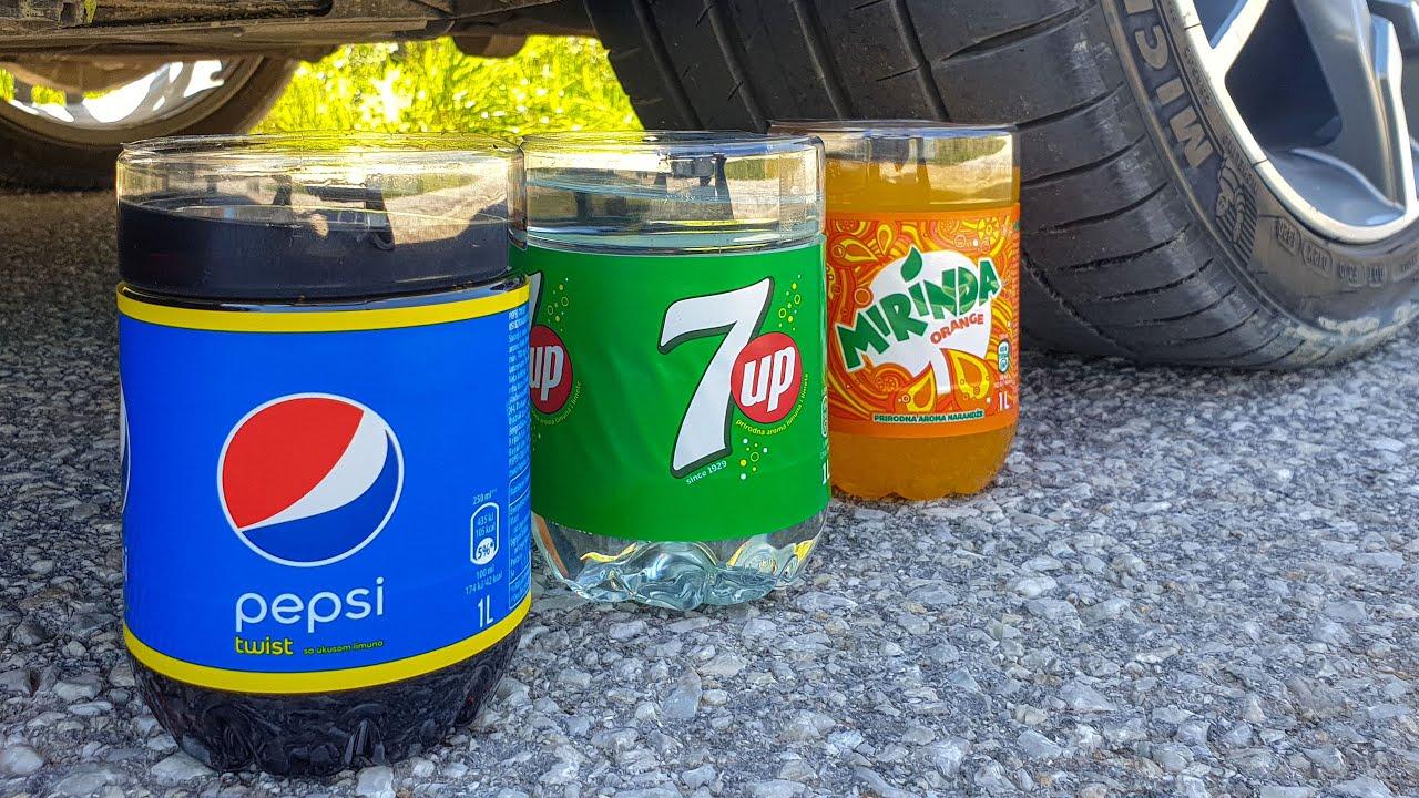 Crushing Crunchy & Soft Things by Car! EXPERIMENT CAR vs PEPSI, 7UP, MIRINDA