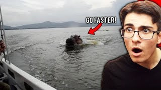 Giant Hippo Chases Boat.. *SCARY*
