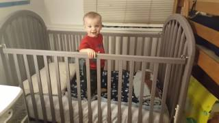 Gunner's First night in his own room!  15 Month Toddler!