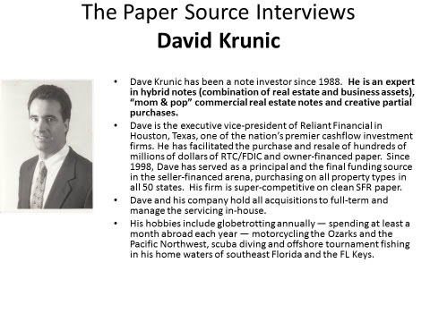 Note Brokering - The Papersource Intervews David Krunic