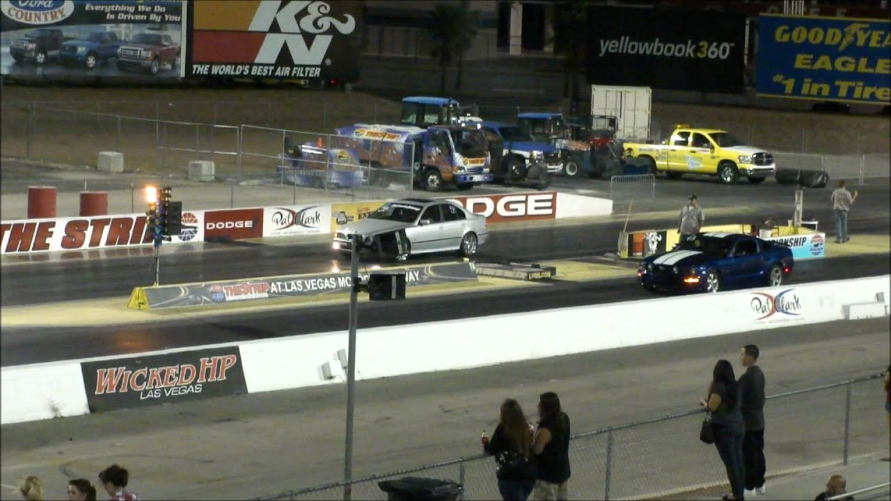 Ford Mustang Vs Bmw 5 Series 14 Mile Drag Race Youtube