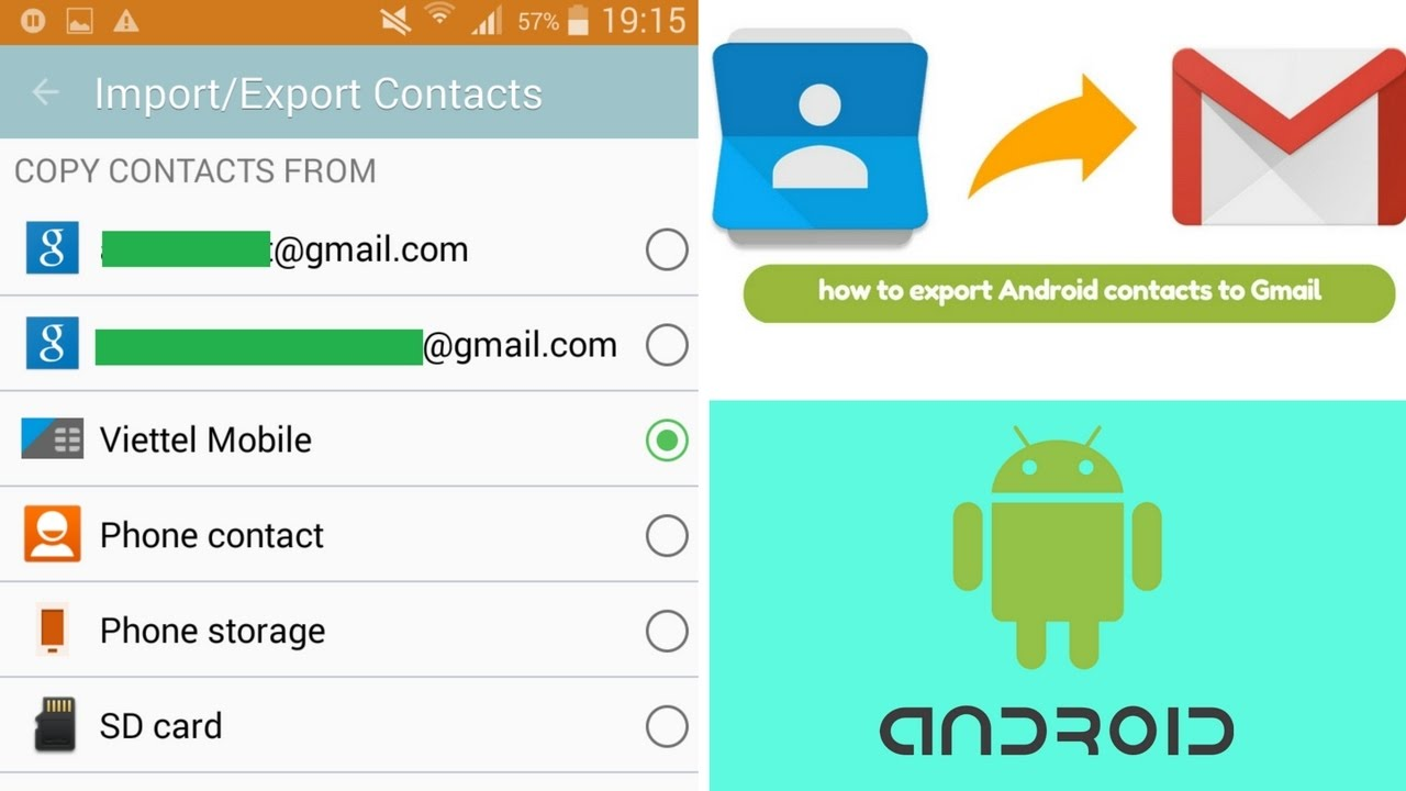 How to import/export contacts Number to Gmail | Save Android contacts to  Gmail