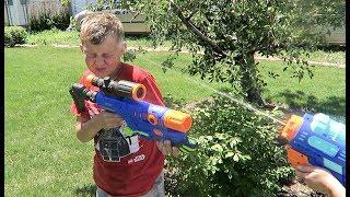 EPIC WATER GUN BATTLE!   LAST DAY OF SCHOOL SURPRISE!!!
