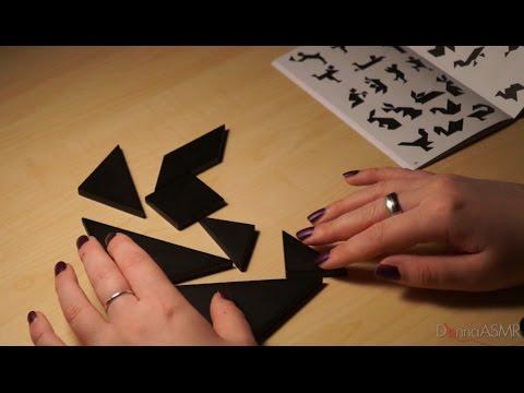 Binaural ASMR/Whisper. Solving Tangram Puzzles (Wood Sounds, Crinkles, Clicking)