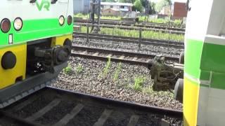 Finnish Dm12 DMUs coupling operation at Karis railway station
