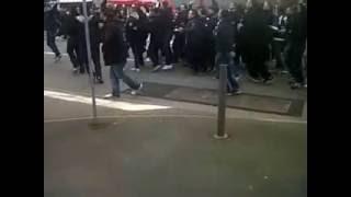 Les Supporters Lyonnais avant match Guingamp-Lyon