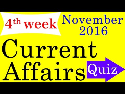 November 2016 4th week - Best Current Affairs MCQ Questions & Answers