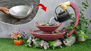 Amazing Ideas from Kettles and Pans - DIY Beautiful Waterfall with Cement