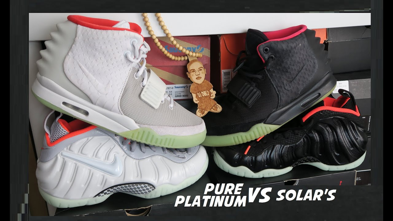 d391e0ec692 Nike Foamposite Yeezy Pure Platinum VS Black Solar Red Sneakers  PickOne  With Dj Delz