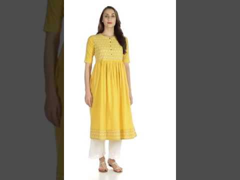 632d8175e Utsa by Westside Yellow Pure Cotton Kurta 300691003001 - YouTube