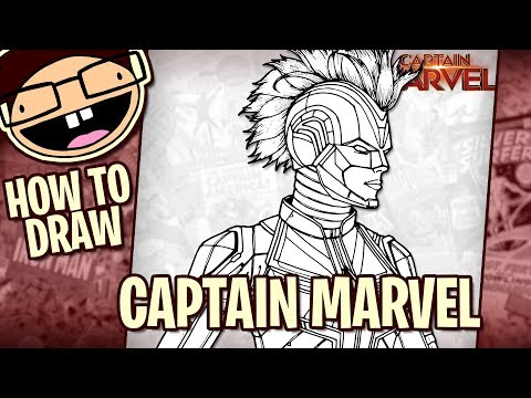 How To Draw Captain Marvel With Helmet 2019 Movie Narrated Easy