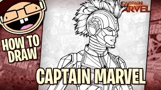How to Draw CAPTAIN MARVEL with Helmet (2019 Movie) | Narrated Easy Step-by-Step Tutorial