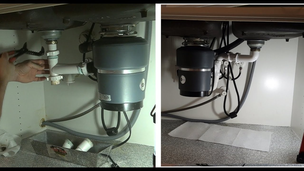 Kitchen Disposal Black And White Checkered Curtains Garbage Swap Drain Double Sink Youtube