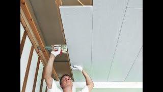 видео Крепим потолочные плиты и панели.