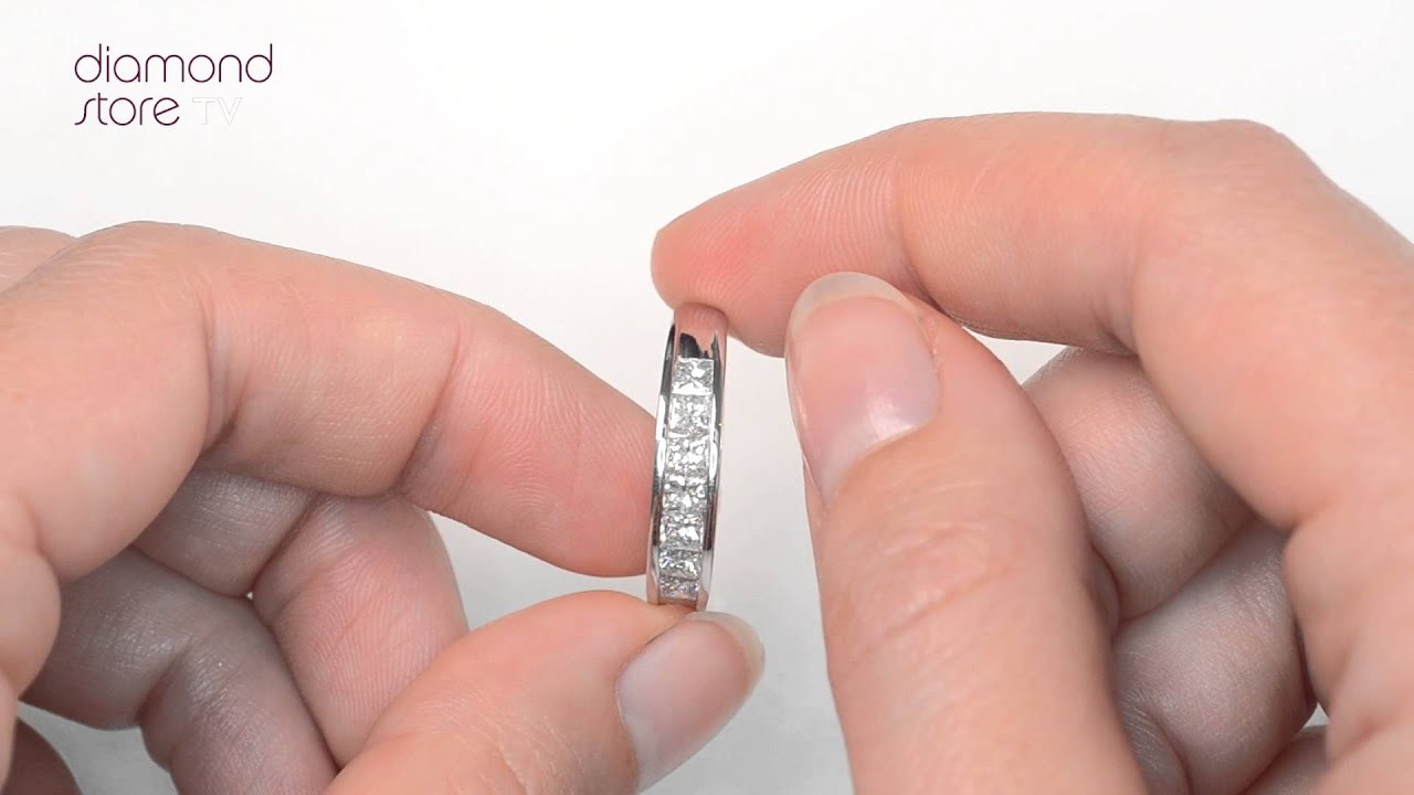 FT35 322 - 1ct Princess Cut Diamond Half Eternity Ring In 18K White ...