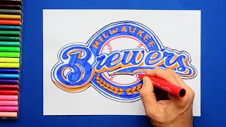 How to draw and color the Milwaukee Brewers Logo - MLB Team Series