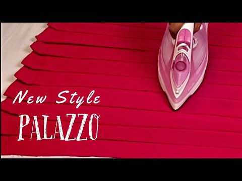Pleated पलाज़्ज़ो पैंट | Palazzo Pant cutting and Stitching in Very Simple Way, plazo ki cutting